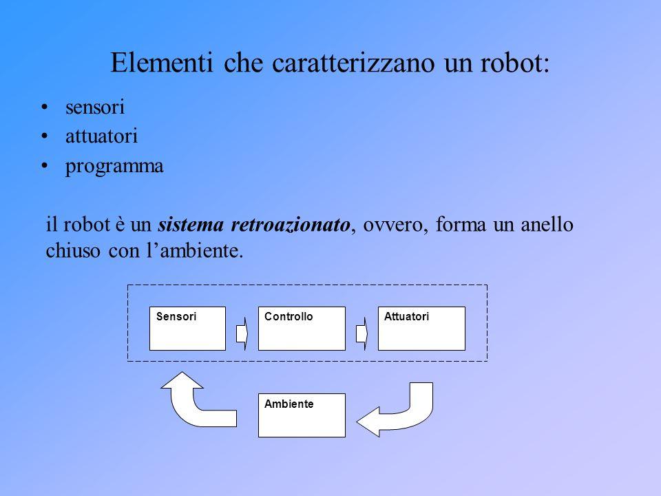 Elementi che caratterizzano un robot: