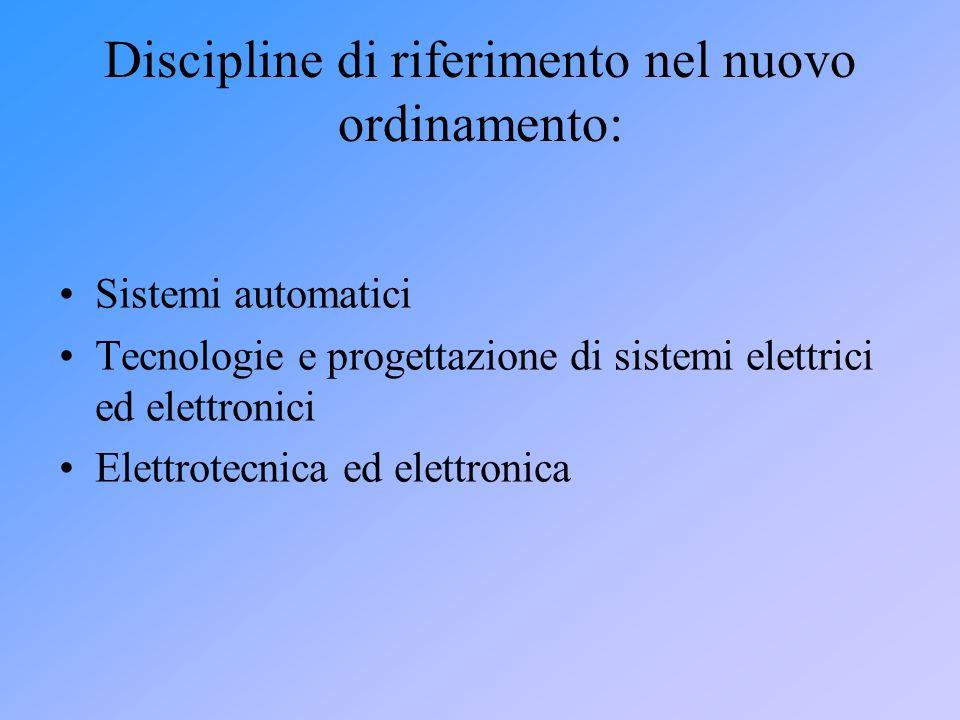 Discipline di riferimento nel nuovo ordinamento: