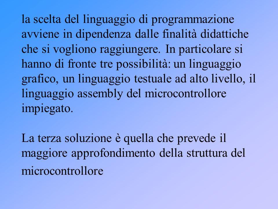 la scelta del linguaggio di programmazione avviene in dipendenza dalle finalità didattiche che si vogliono raggiungere.