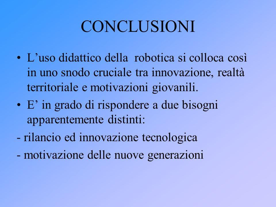 CONCLUSIONI L'uso didattico della robotica si colloca così in uno snodo cruciale tra innovazione, realtà territoriale e motivazioni giovanili.