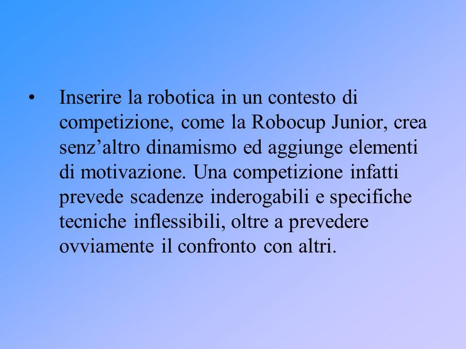 Inserire la robotica in un contesto di competizione, come la Robocup Junior, crea senz'altro dinamismo ed aggiunge elementi di motivazione.