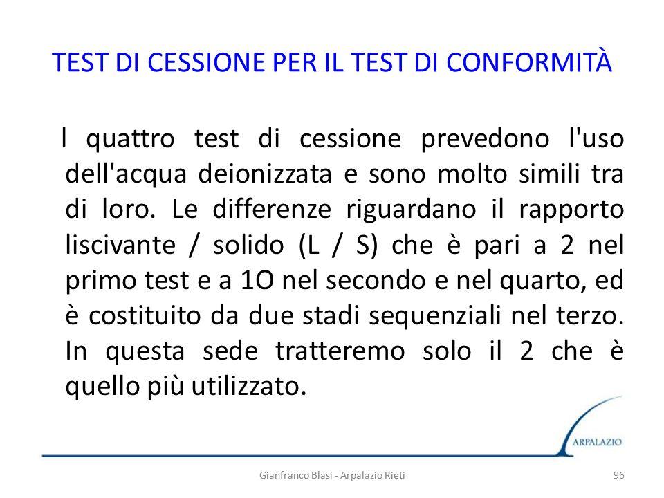 TEST DI CESSIONE PER IL TEST DI CONFORMITÀ