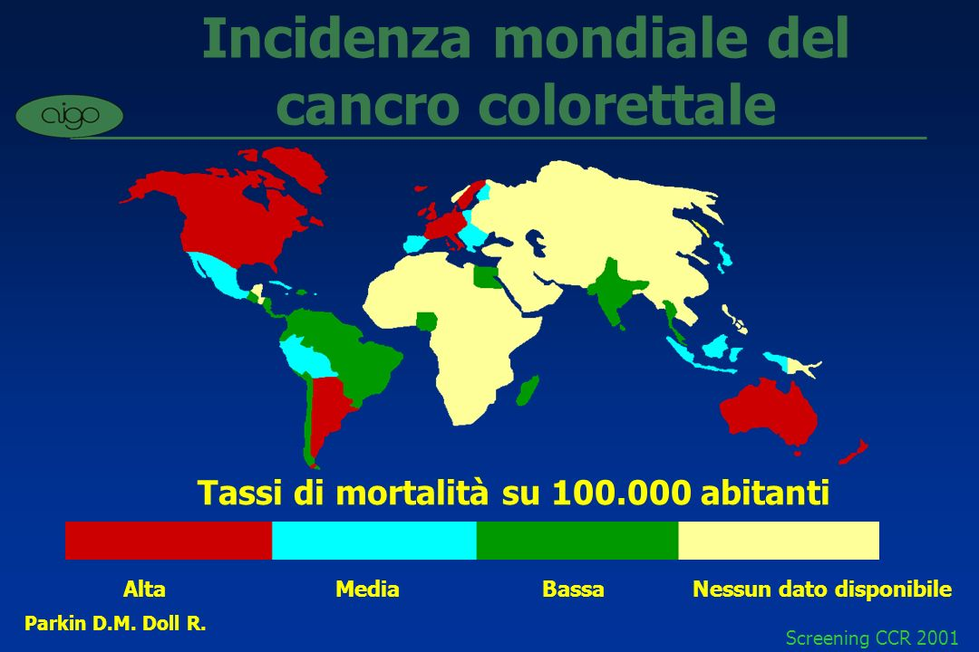 Incidenza mondiale del cancro colorettale