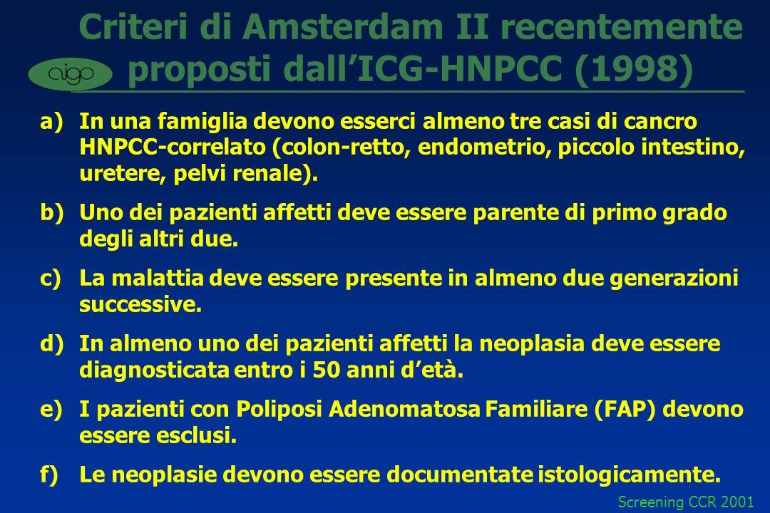 Criteri di Amsterdam II recentemente proposti dall'ICG-HNPCC (1998)
