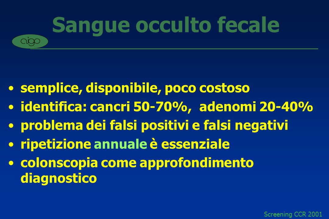 Sangue occulto fecale semplice, disponibile, poco costoso