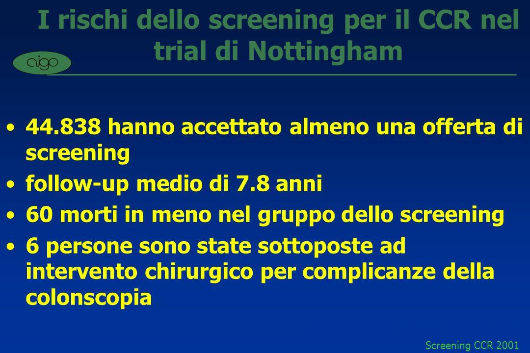 I rischi dello screening per il CCR nel trial di Nottingham