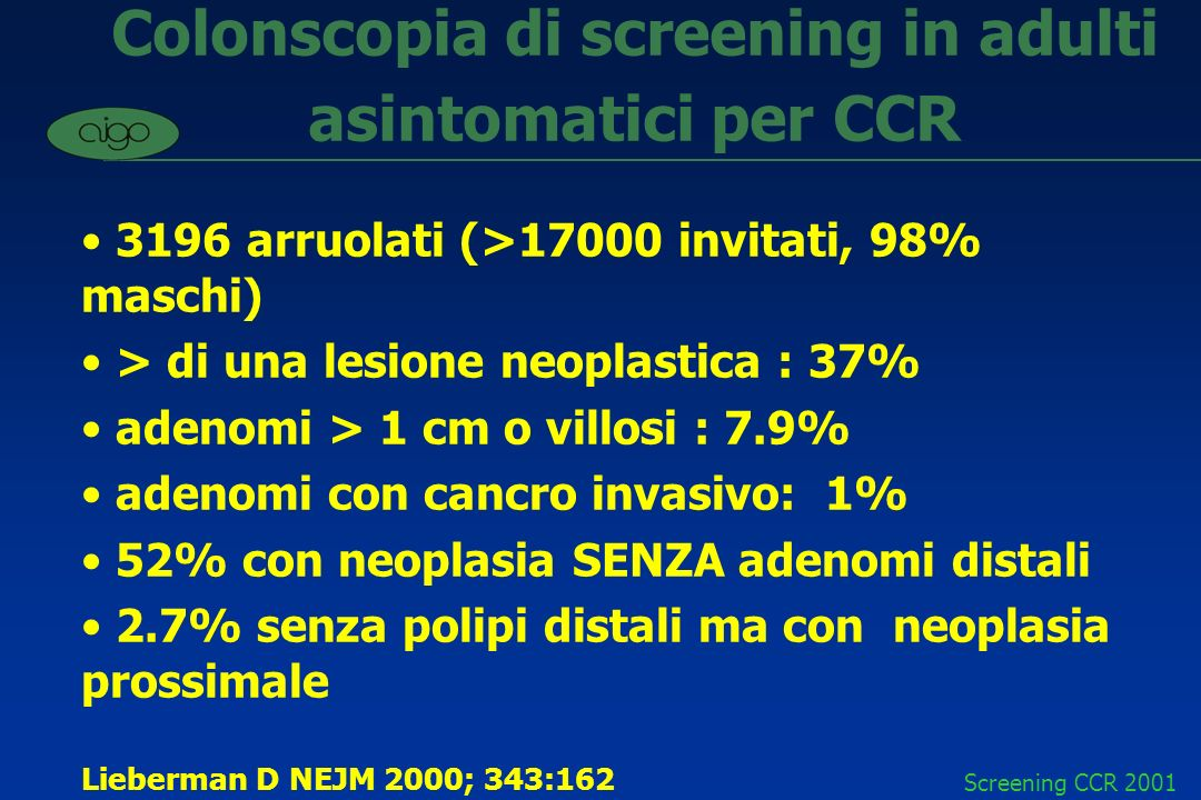 Colonscopia di screening in adulti asintomatici per CCR