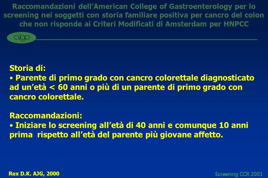 Raccomandazioni dell'American College of Gastroenterology per lo screening nei soggetti con storia familiare positiva per cancro del colon che non risponde ai Criteri Modificati di Amsterdam per HNPCC