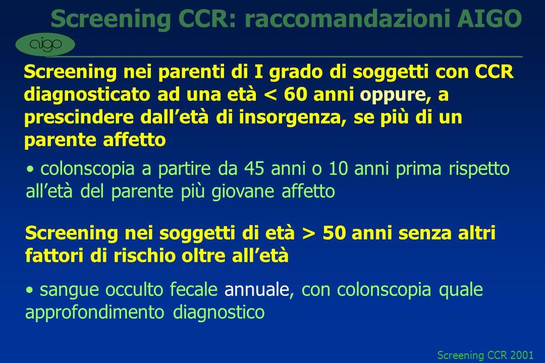 Screening CCR: raccomandazioni AIGO