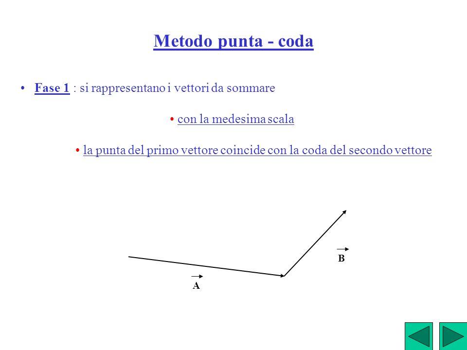 Metodo punta - coda • Fase 1 : si rappresentano i vettori da sommare
