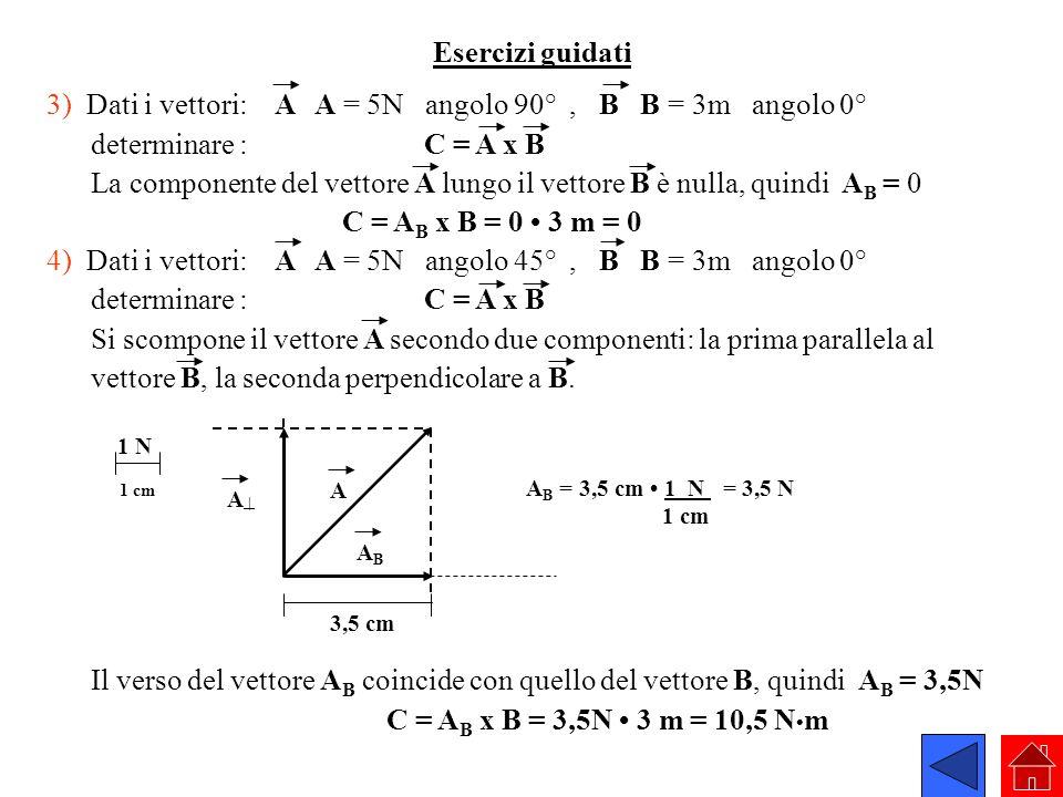 3) Dati i vettori: A A = 5N angolo 90° , B B = 3m angolo 0°