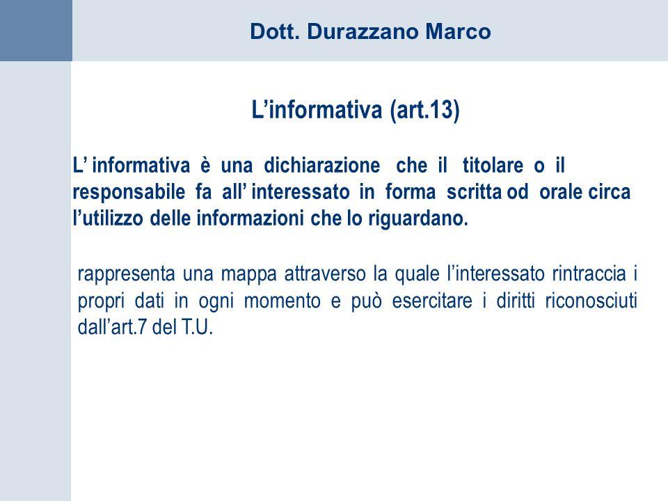 L'informativa (art.13)