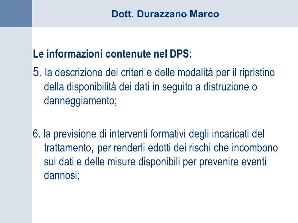Le informazioni contenute nel DPS:
