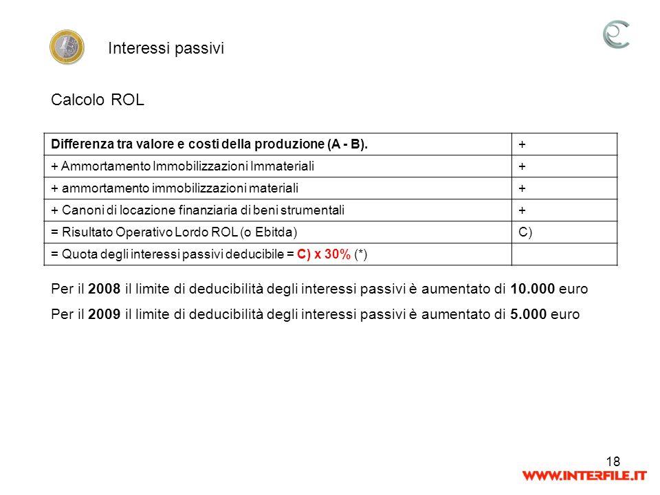 Interessi passivi Calcolo ROL