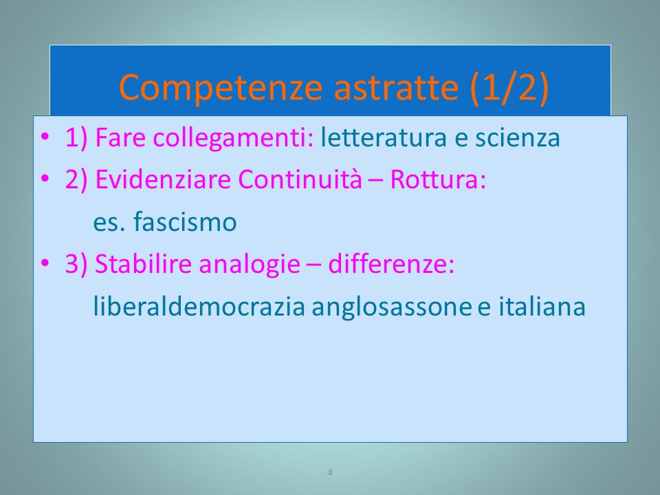 Competenze astratte (1/2)