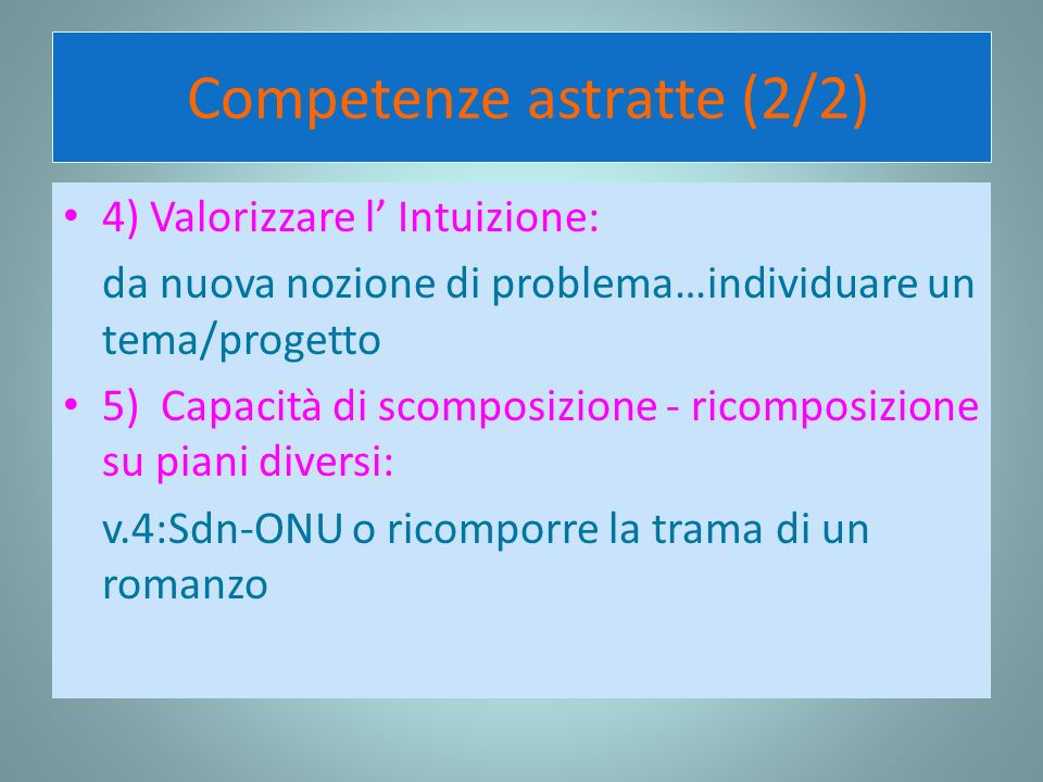 Competenze astratte (2/2)