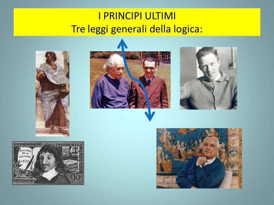 I PRINCIPI ULTIMI Tre leggi generali della logica: