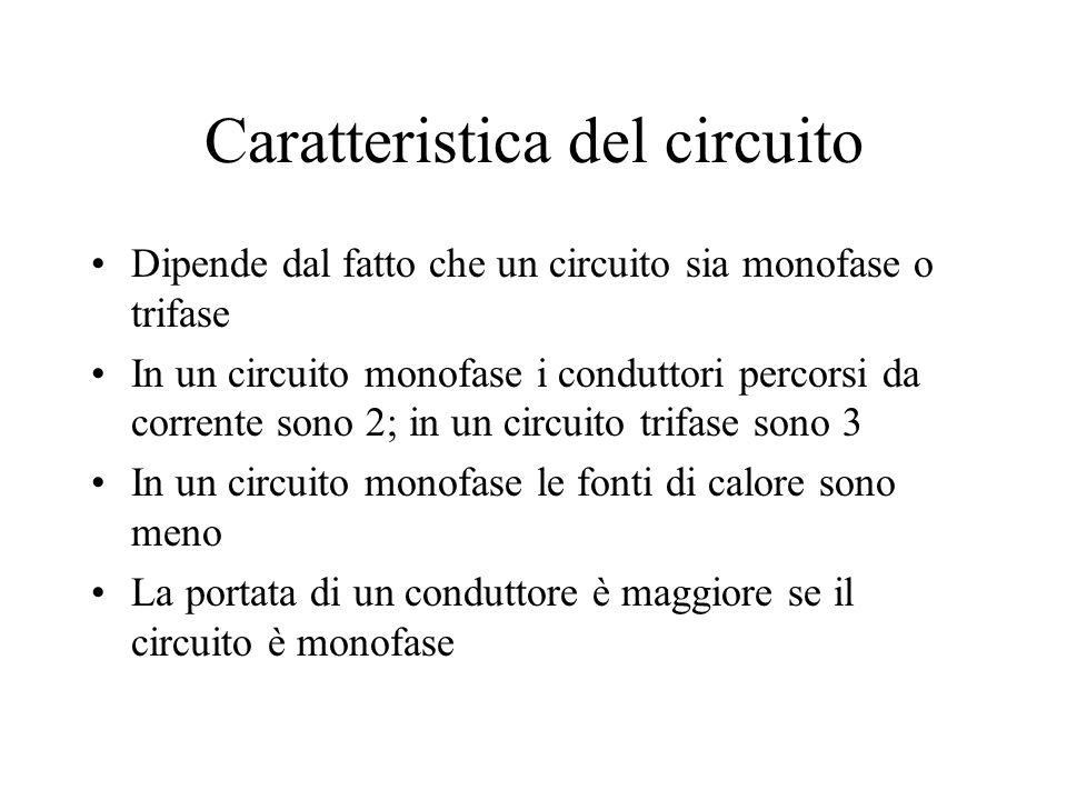 Caratteristica del circuito