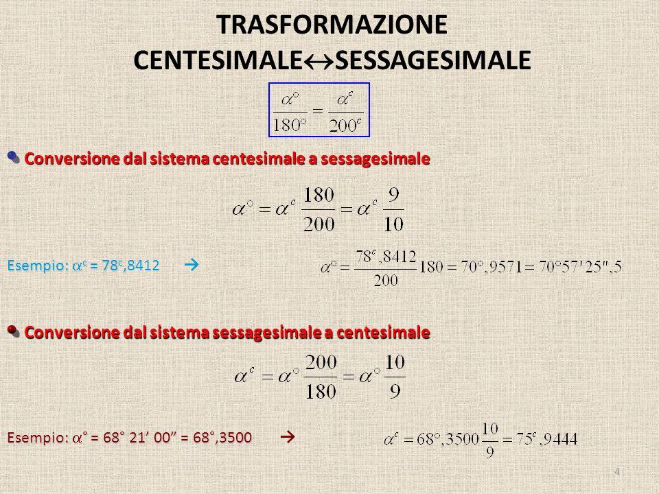 TRASFORMAZIONE CENTESIMALESESSAGESIMALE