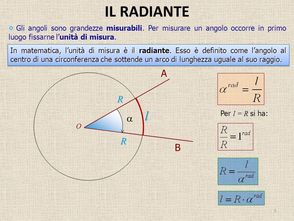 IL RADIANTE Gli angoli sono grandezze misurabili. Per misurare un angolo occorre in primo luogo fissarne l'unità di misura.