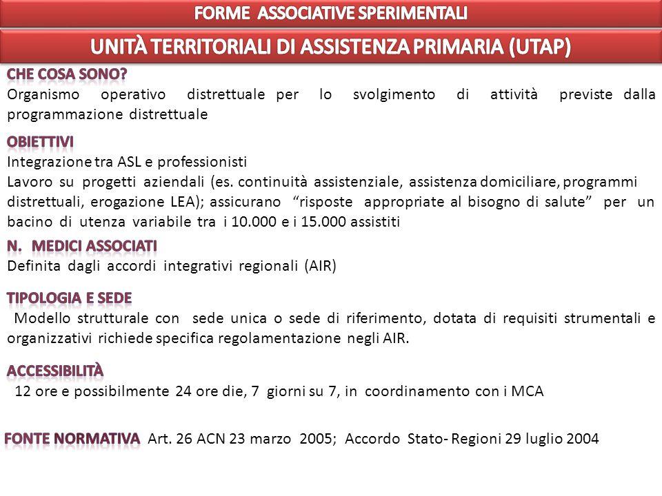 UNITÀ TERRITORIALI DI ASSISTENZA PRIMARIA (UTAP)