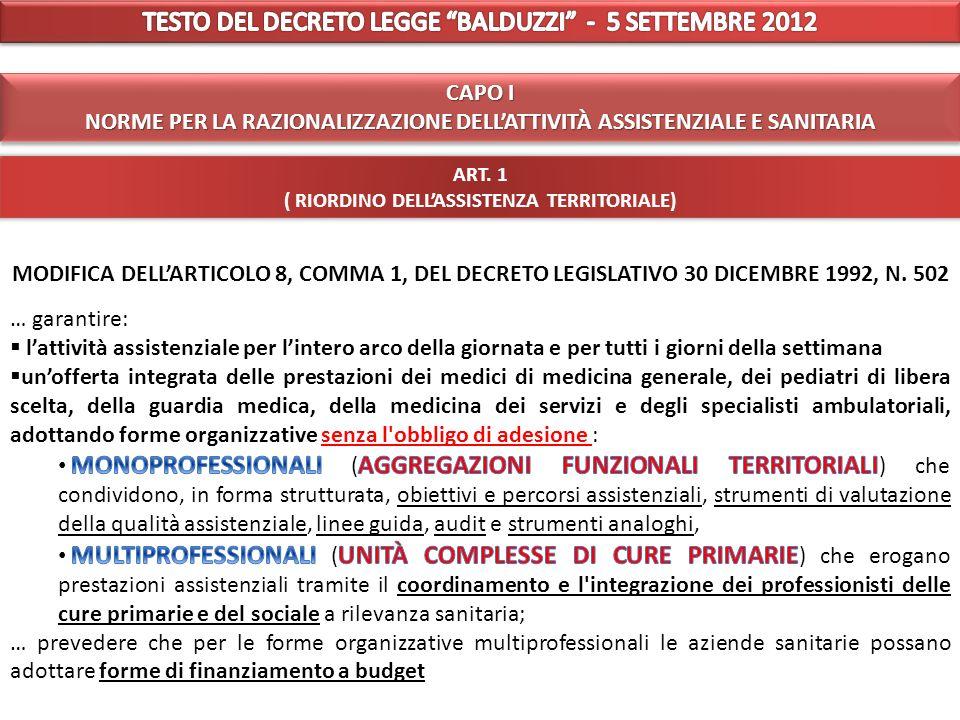 TESTO DEL DECRETO LEGGE BALDUZZI - 5 SETTEMBRE 2012