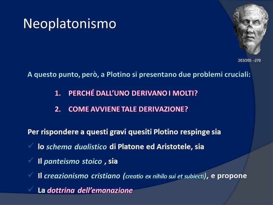 Neoplatonismo 203/205 –270. A questo punto, però, a Plotino si presentano due problemi cruciali: PERCHÉ DALL'UNO DERIVANO I MOLTI