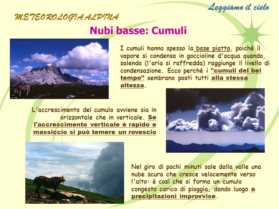 Leggiamo il cielo Nubi basse: Cumuli METEOROLOGIA ALPINA