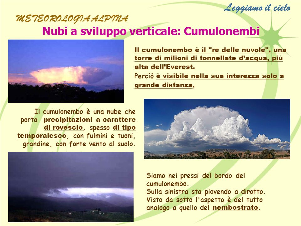 Leggiamo il cielo Nubi a sviluppo verticale: Cumulonembi