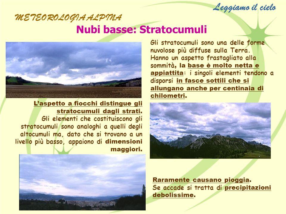 Leggiamo il cielo Nubi basse: Stratocumuli METEOROLOGIA ALPINA