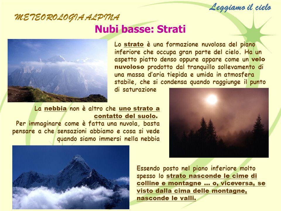 Leggiamo il cielo Nubi basse: Strati METEOROLOGIA ALPINA