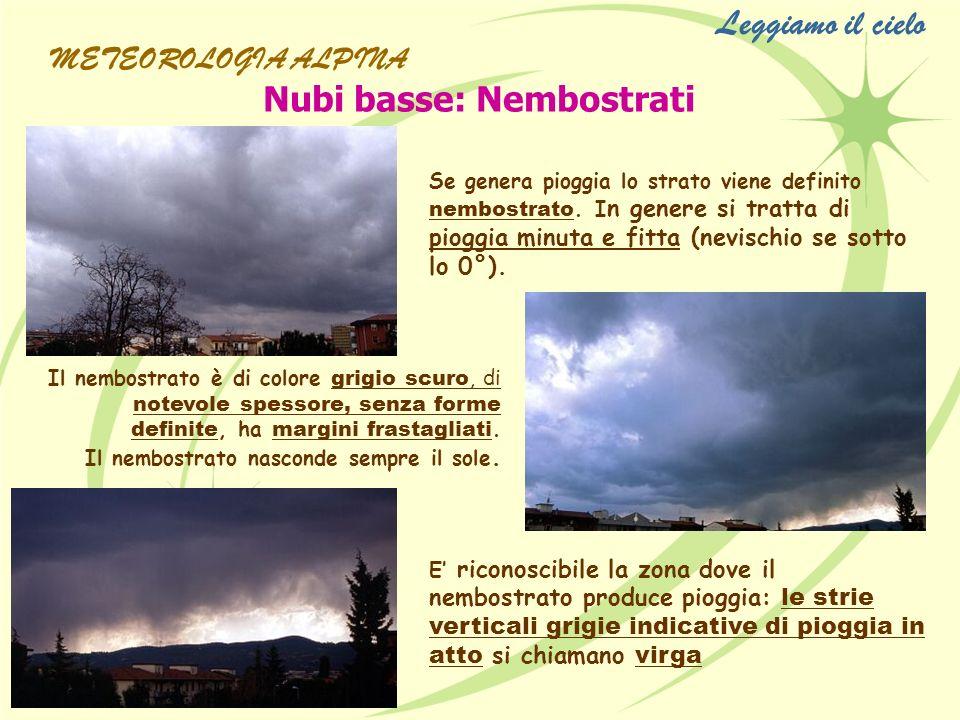 Leggiamo il cielo Nubi basse: Nembostrati METEOROLOGIA ALPINA