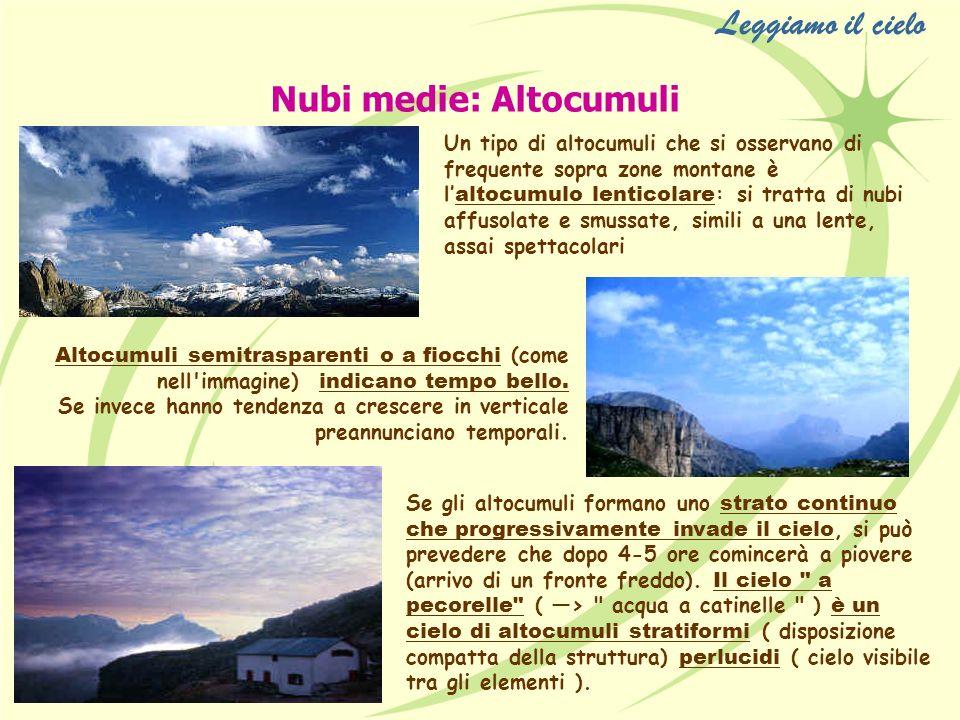 Leggiamo il cielo Nubi medie: Altocumuli