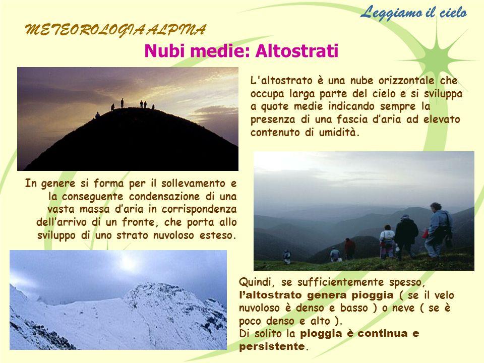 Leggiamo il cielo Nubi medie: Altostrati METEOROLOGIA ALPINA