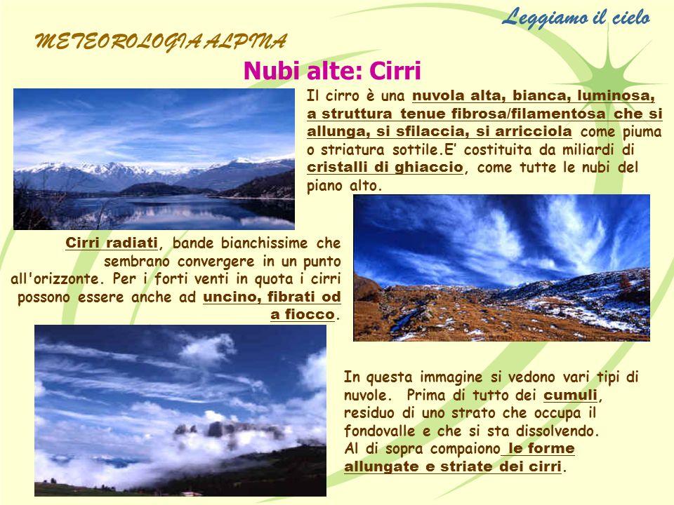 Leggiamo il cielo Nubi alte: Cirri METEOROLOGIA ALPINA