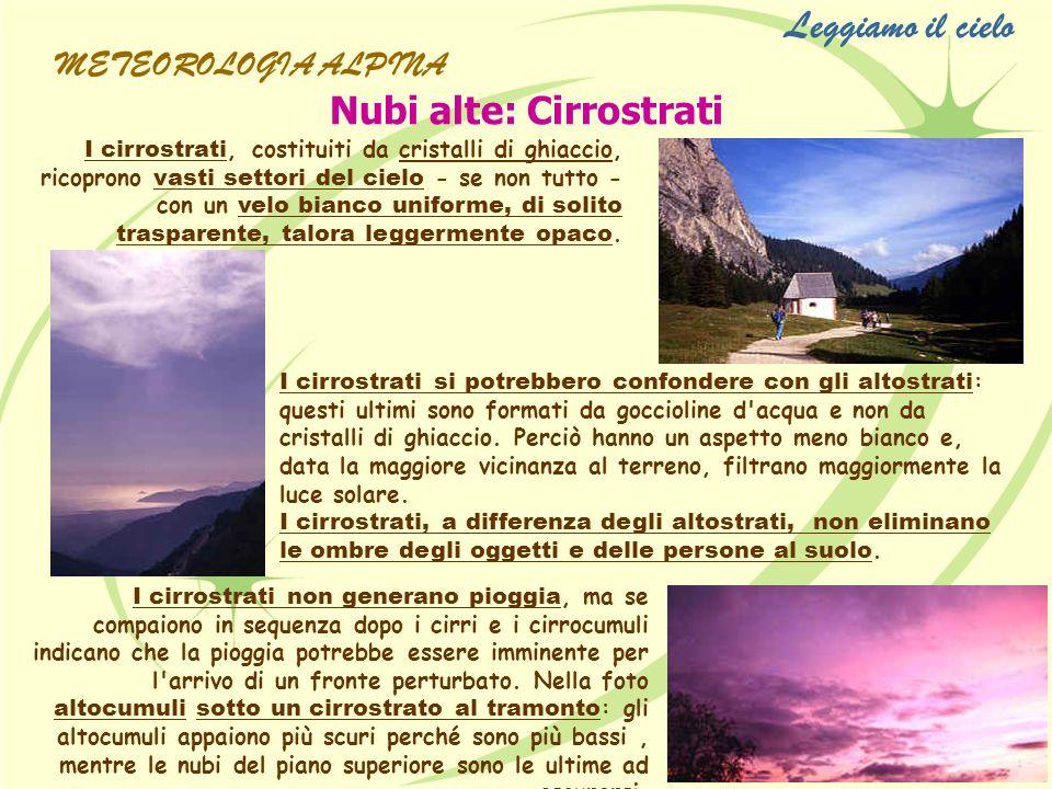 Leggiamo il cielo Nubi alte: Cirrostrati METEOROLOGIA ALPINA