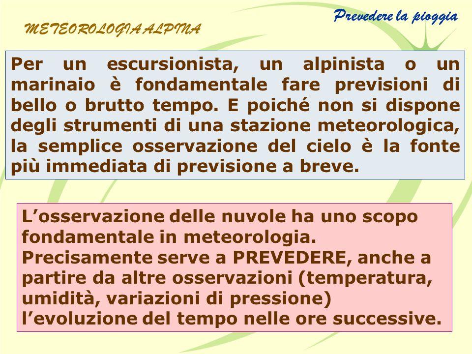 Prevedere la pioggia METEOROLOGIA ALPINA.