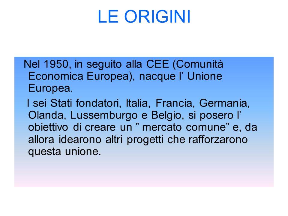LE ORIGINI Nel 1950, in seguito alla CEE (Comunità Economica Europea), nacque l' Unione Europea.