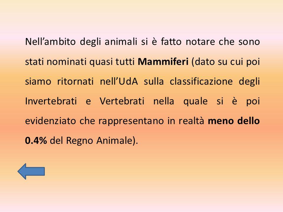 Nell'ambito degli animali si è fatto notare che sono stati nominati quasi tutti Mammiferi (dato su cui poi siamo ritornati nell'UdA sulla classificazione degli Invertebrati e Vertebrati nella quale si è poi evidenziato che rappresentano in realtà meno dello 0.4% del Regno Animale).