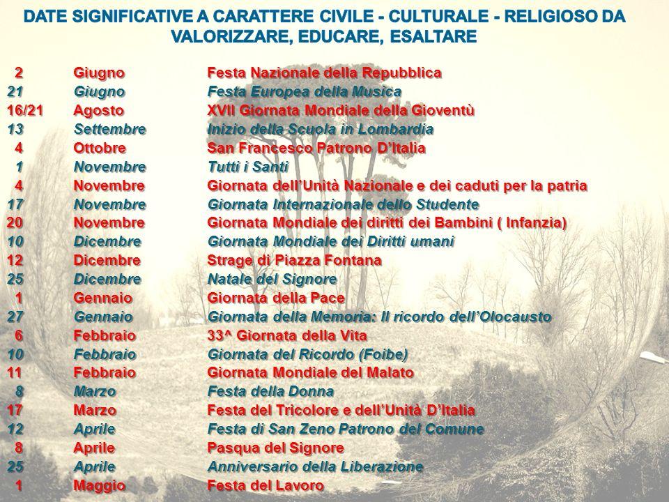 DATE SIGNIFICATIVE A CARATTERE CIVILE - CULTURALE - RELIGIOSO DA VALORIZZARE, EDUCARE, ESALTARE