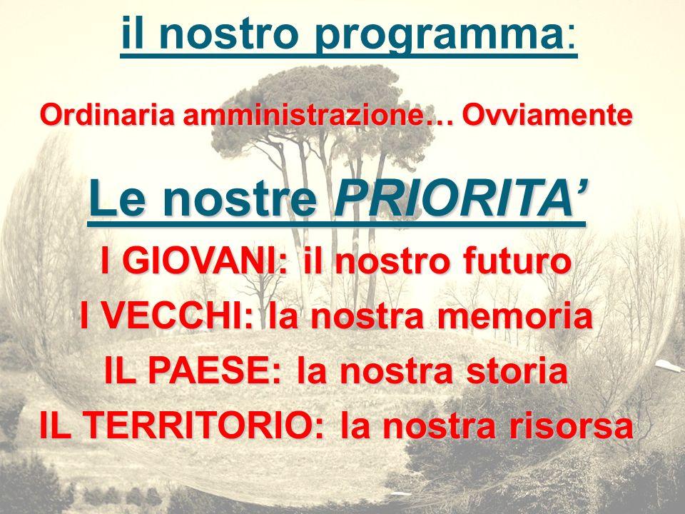 Le nostre PRIORITA' il nostro programma: I GIOVANI: il nostro futuro