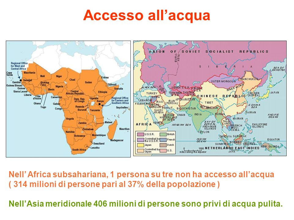 Accesso all'acqua Nell' Africa subsahariana, 1 persona su tre non ha accesso all'acqua. ( 314 milioni di persone pari al 37% della popolazione )
