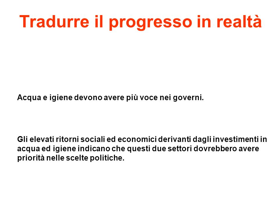 Tradurre il progresso in realtà
