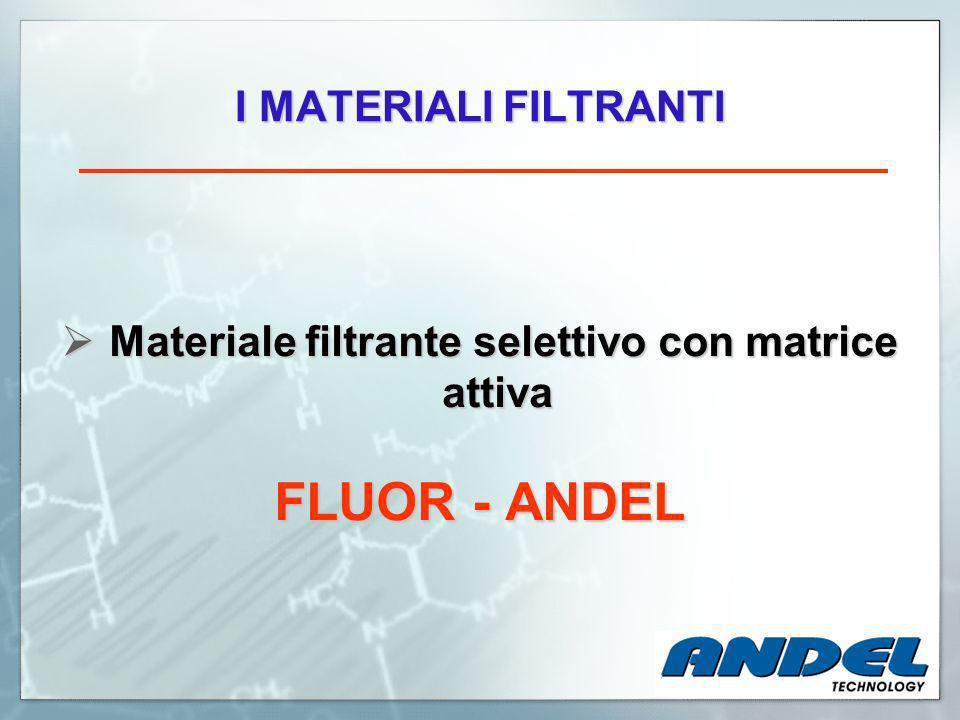 Materiale filtrante selettivo con matrice attiva