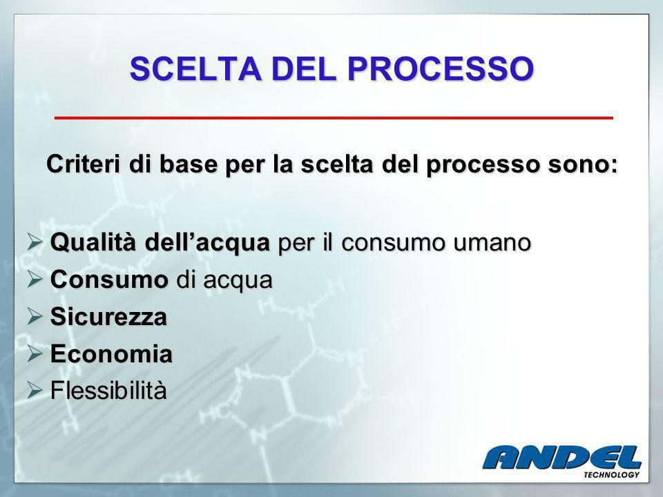 SCELTA DEL PROCESSO Criteri di base per la scelta del processo sono: