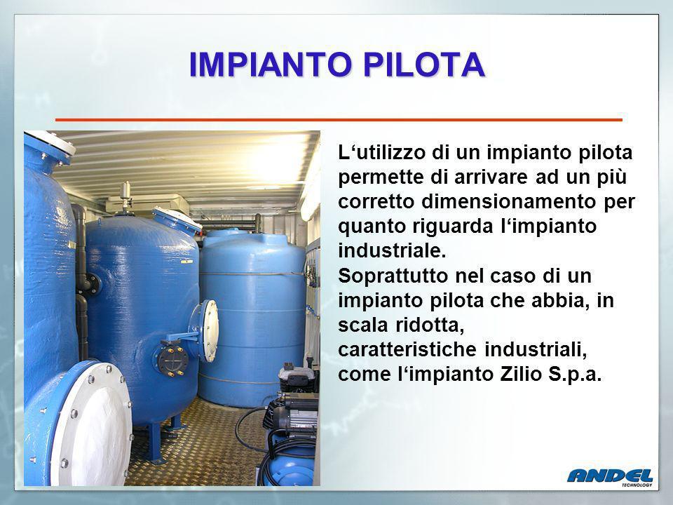 IMPIANTO PILOTA L'utilizzo di un impianto pilota permette di arrivare ad un più corretto dimensionamento per quanto riguarda l'impianto industriale.
