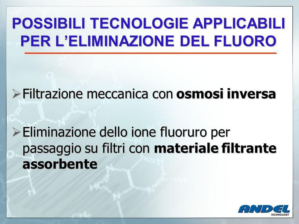 POSSIBILI TECNOLOGIE APPLICABILI PER L'ELIMINAZIONE DEL FLUORO