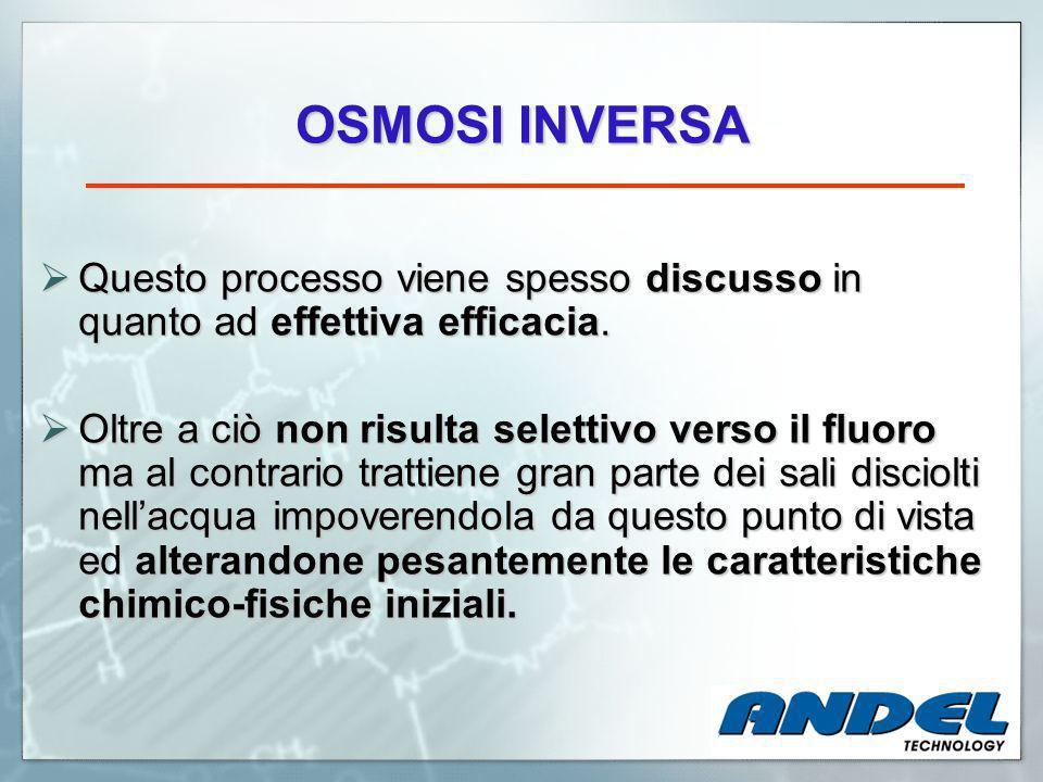 OSMOSI INVERSA Questo processo viene spesso discusso in quanto ad effettiva efficacia.