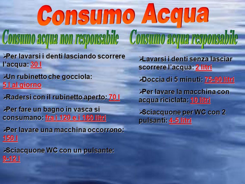 Consumo acqua non responsabile Consumo acqua responsabile