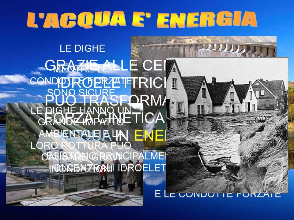 L ACQUA E ENERGIALE DIGHE. GRAZIE ALLE CENTRALI IDROELETTRICHE SI PUÒ TRASFORMARE LA FORZA CINETICA DELLA ACQUA IN ENERGIA.